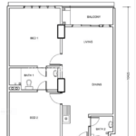 Type B: 2-bedrooms, 895 sqft