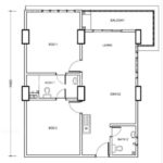 Type B1: 2-bedrooms, 930 sqft