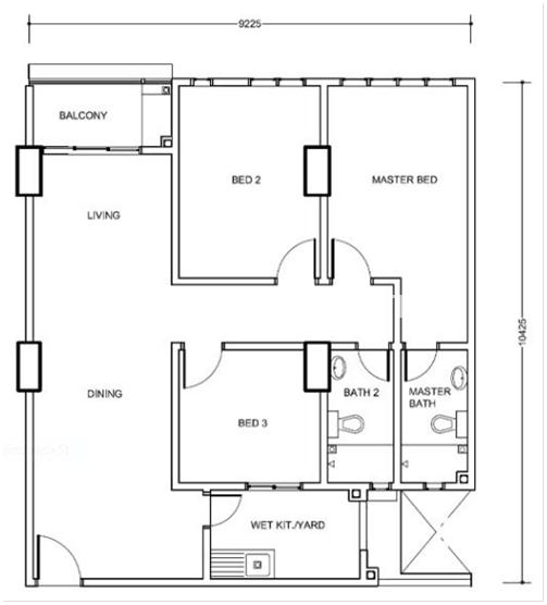Type C 3 Bedrooms 987 Sqft Png Mysgprop