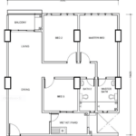 Type C1: 3-bedrooms, 1020 sqft