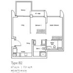 Type B2: 2 bedroom floor plan