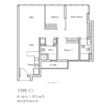 Type C1: 3 bedroom floor plan