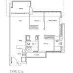 Type C1a: 3 bedroom floor plan