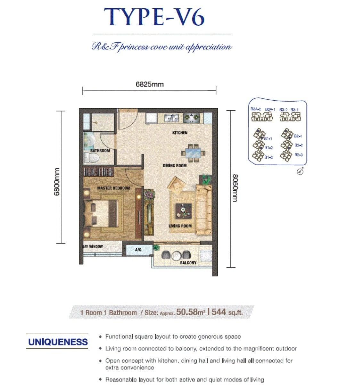 RF Princess Cove JB Floor Plan 1Bedroom
