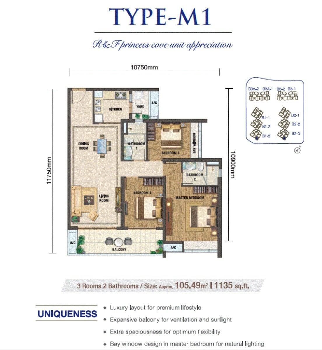 RF Princess Cove JB Floor Plan 3Bedroom