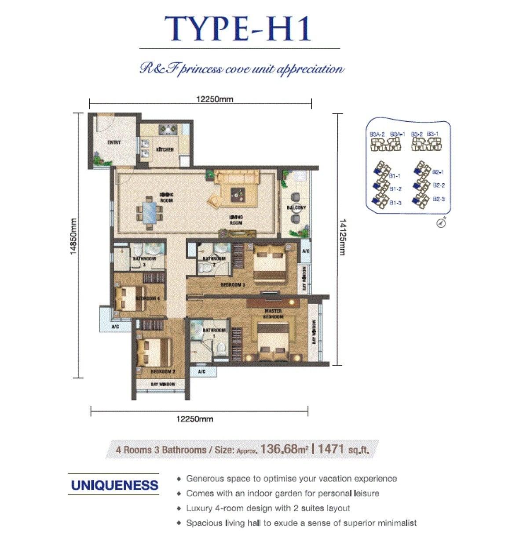 RF Princess Cove JB Floor Plan 4Bedroom