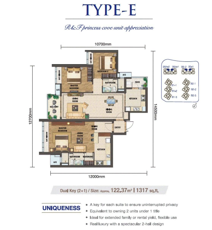 RF Princess Cove JB Floor Plan Dual Keys 2+1
