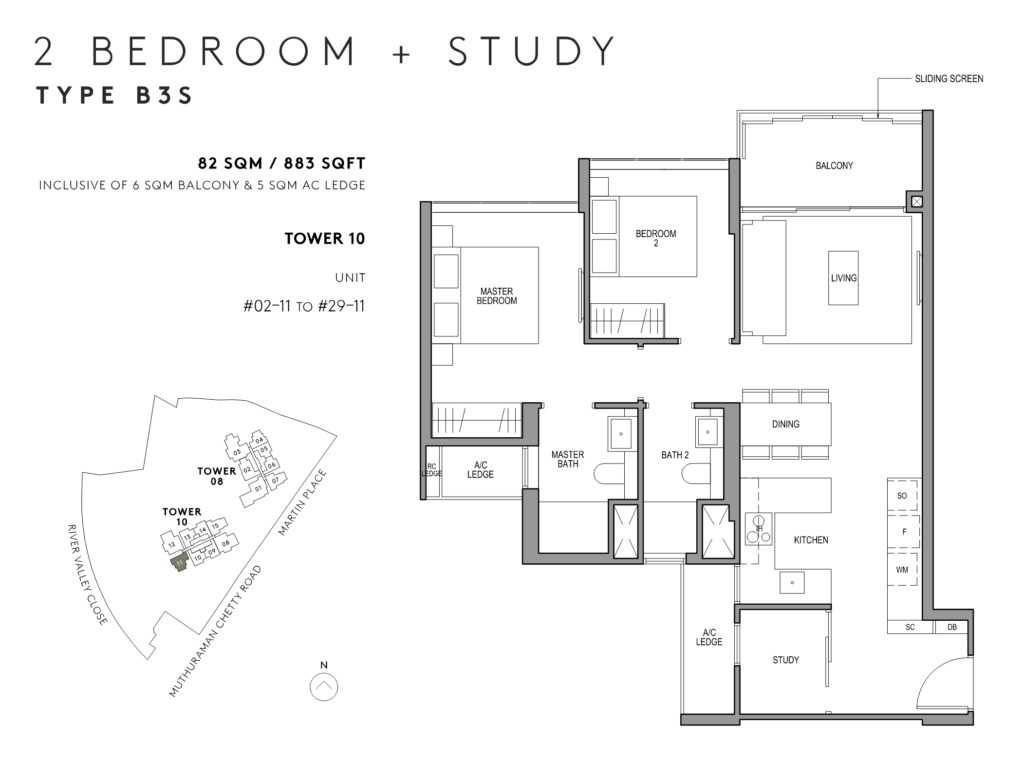 Martin-Modern-Floor-Plan-Type-B3S-2study-883sqft-Stack-11-1024x762