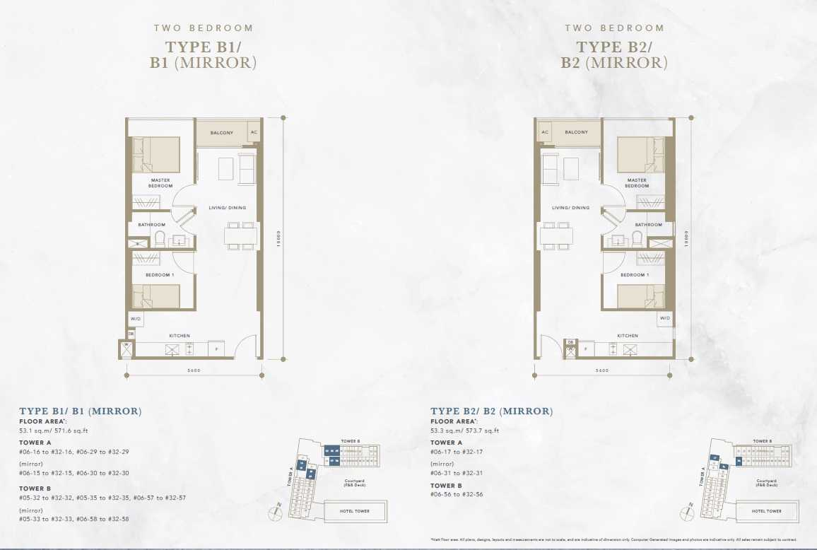 Oxley-Convention-City-Batam-Residential-Floor Plan-2Bedroom