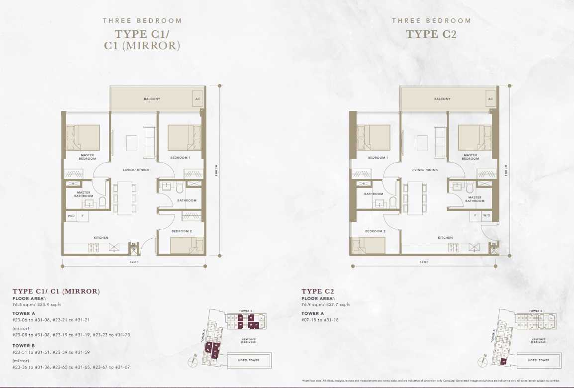 Oxley-Convention-City-Batam-Residential-Floor Plan-3Bedroom