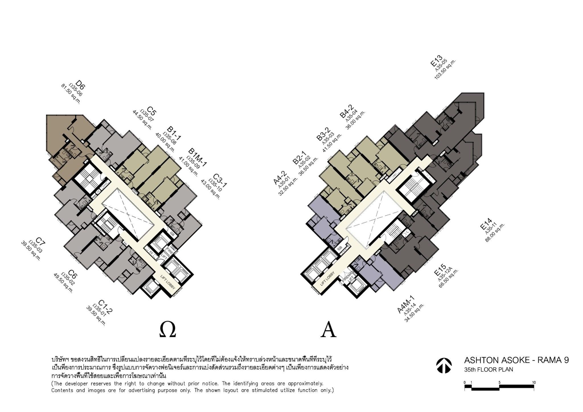 Ashton awoke rama 9 35th floor plan