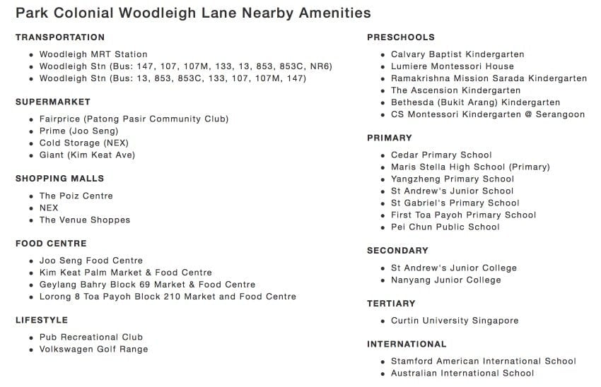 park colonial woodleigh nearby amenities