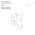 Stiriling Residences Queenstown Floorplan 1-BR