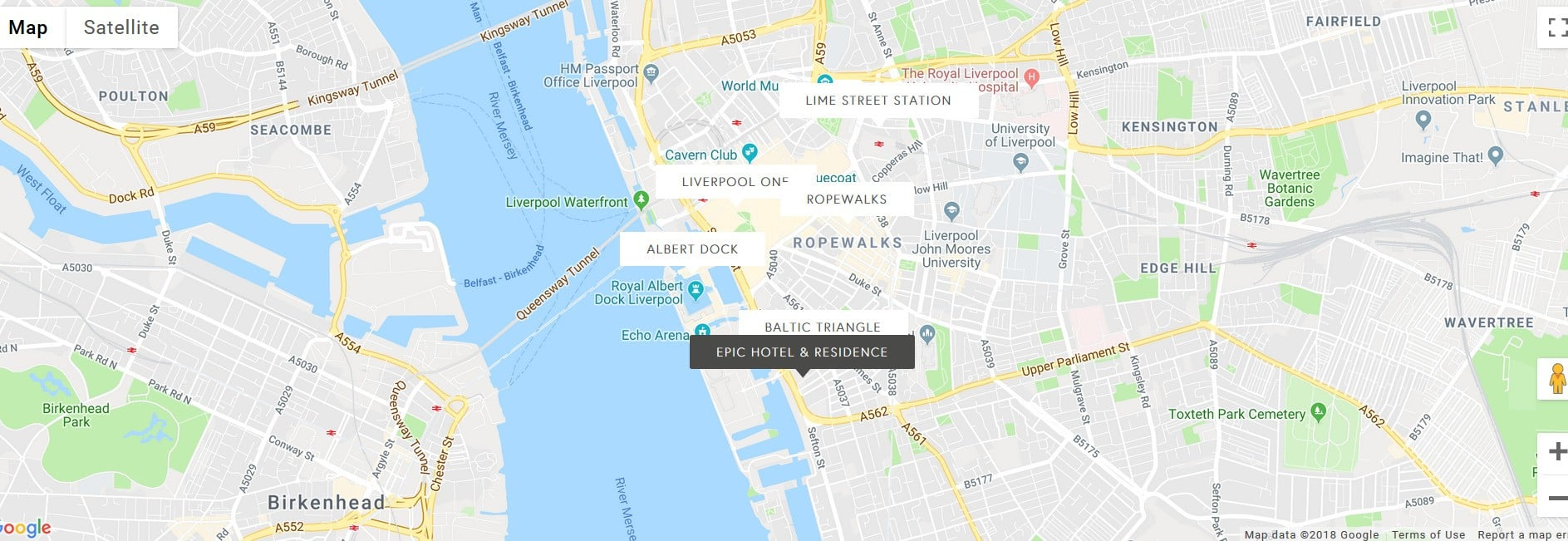Epic Hotel Residences Liverpool - location