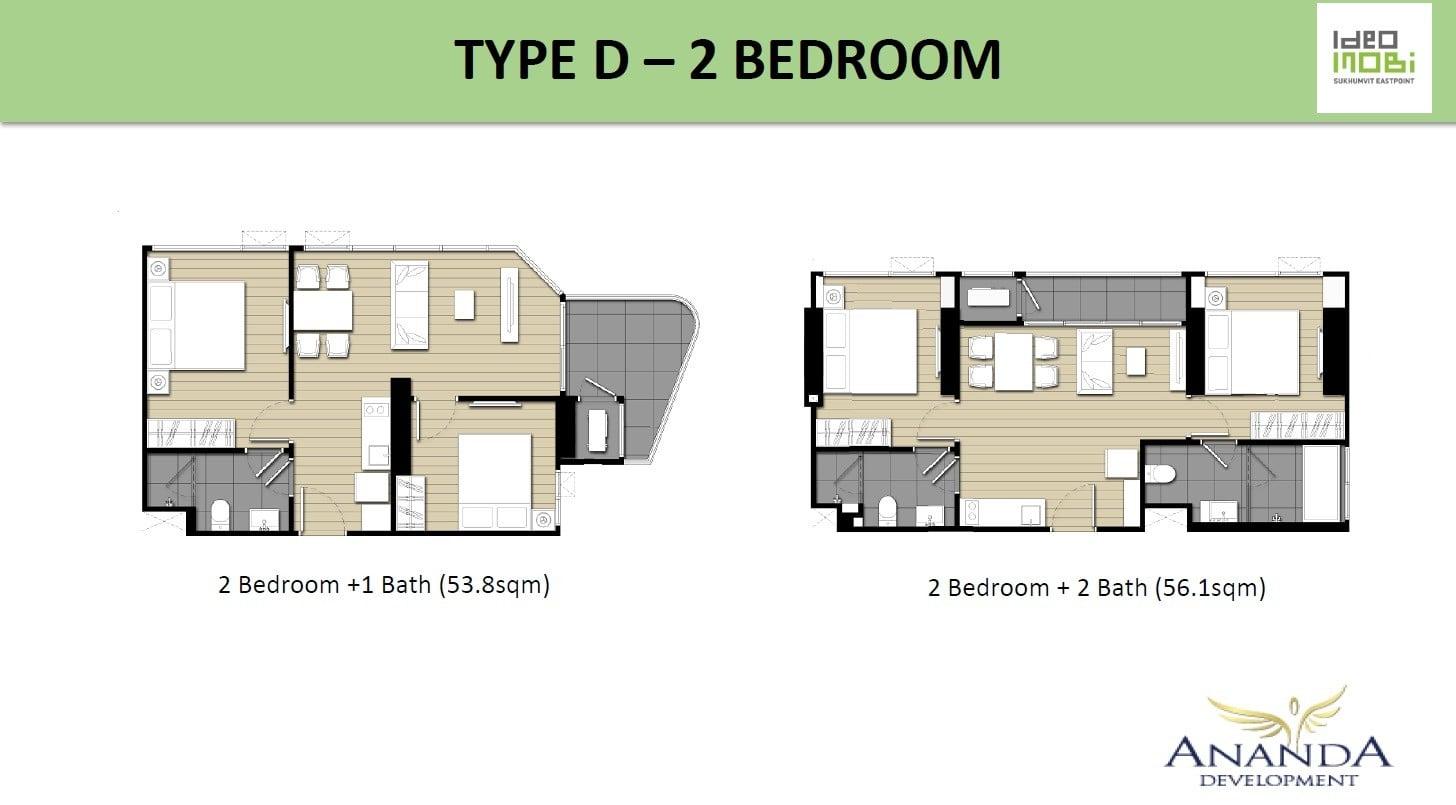 Ideo-Mobi-Sukhumvit-Eastpoint-Floor Plan Type D 2Bedroom