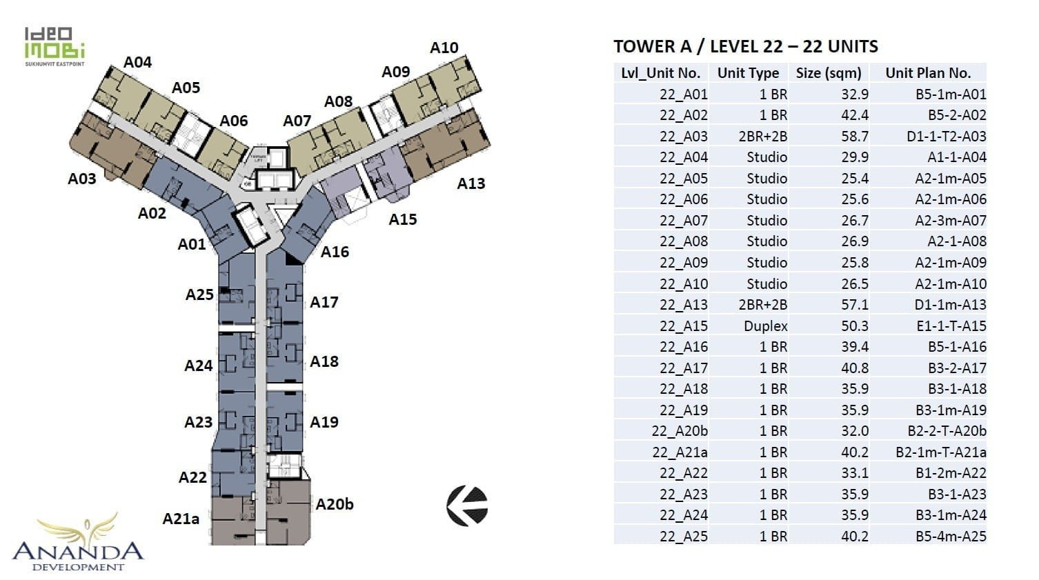 Ideo-Mobi-Sukhumvit-Eastpoint-tower A level 22 floor plan