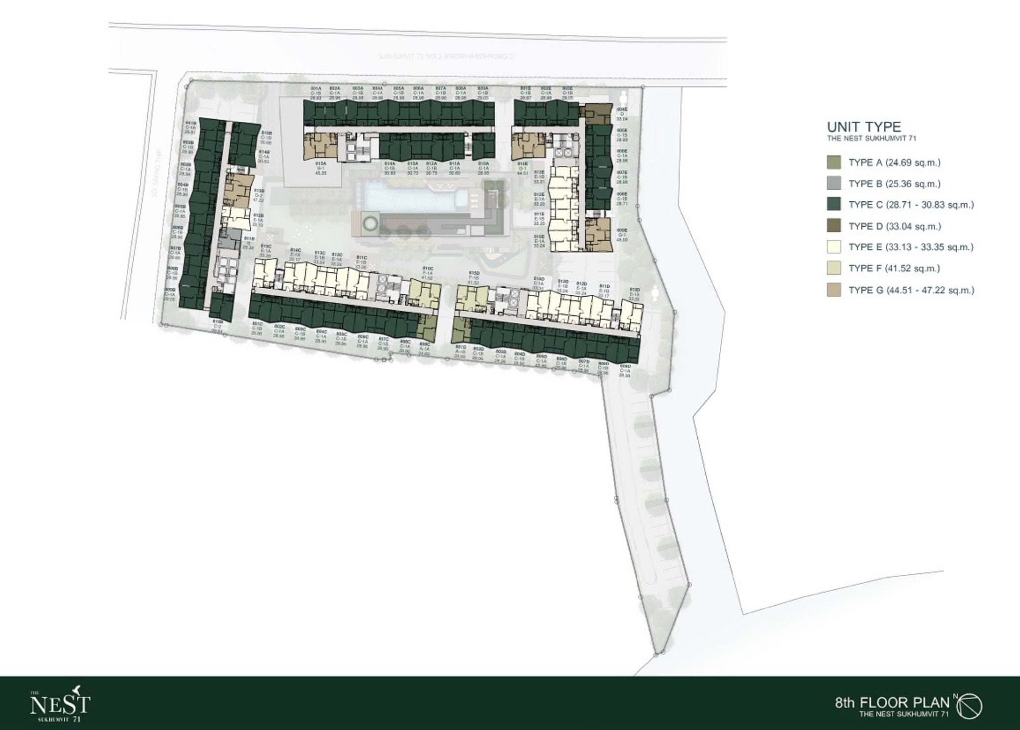 Nest Sukhumvit 71 Bangkok-8th Floor Plan