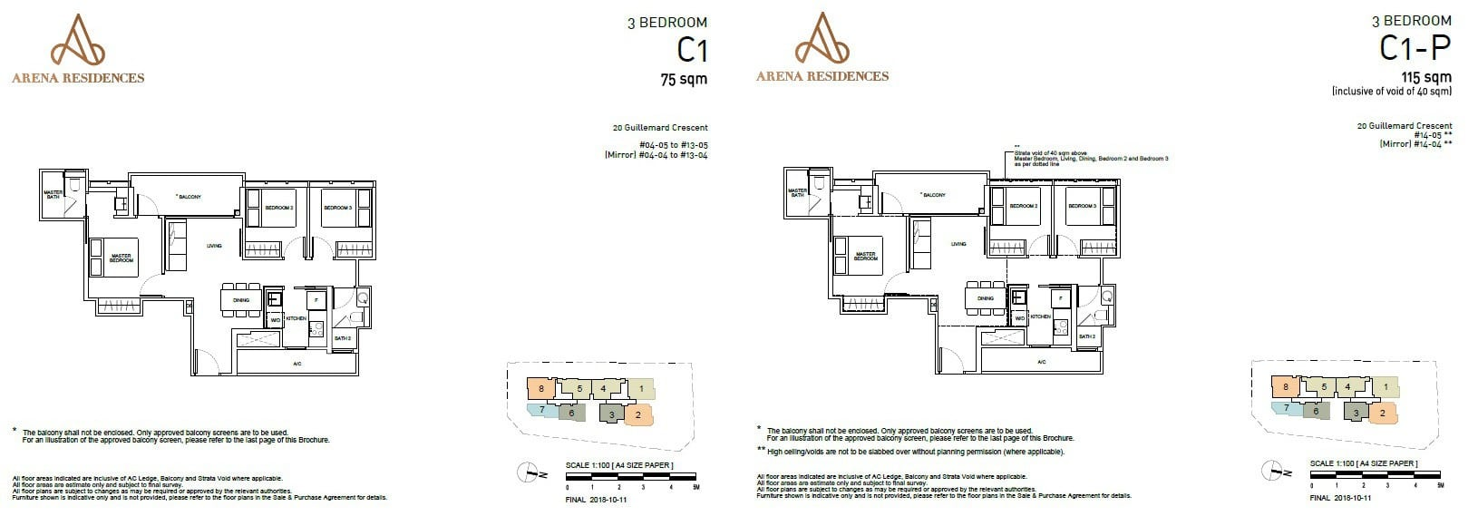 Arena Residences Guillemard - Floor Plan 3Bedroom