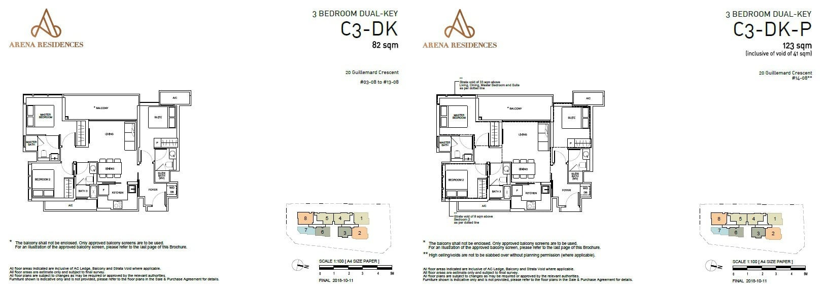 Arena Residences Guillemard - Floor Plan 3Bedroom Dual Key