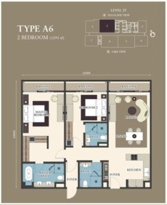 Citadines-Medini-FloorPlan-2BR Type A6 1291sf