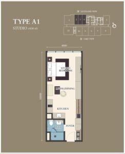 Citadines-Medini-FloorPlan-Studio Type A1 430sf