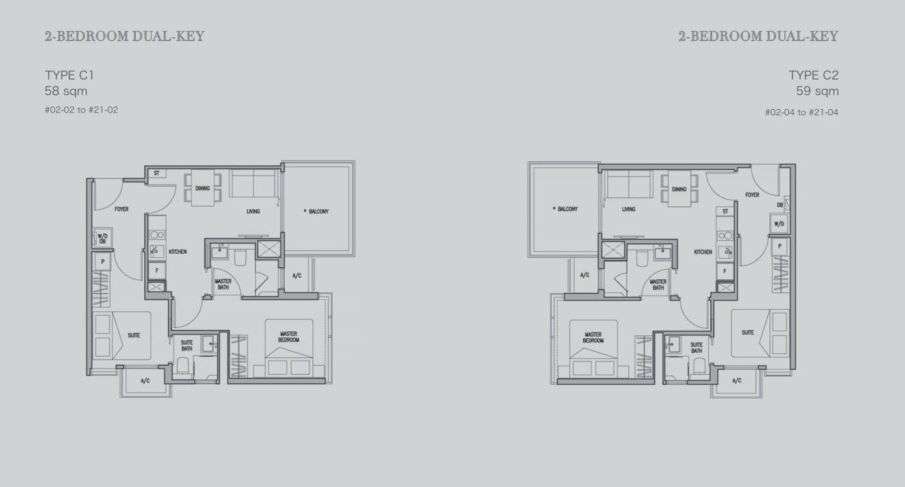 RV Altitude floor plan 2BR Dual Key | MySgProp