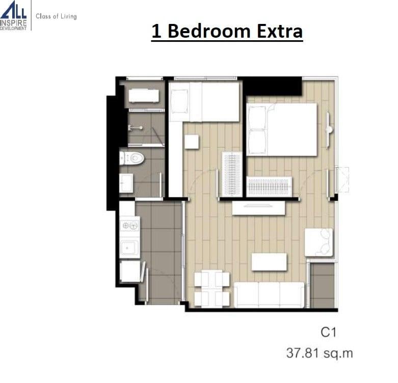 Rise-Phahon-Inthamara-Floor-Plan-1BR-Extra