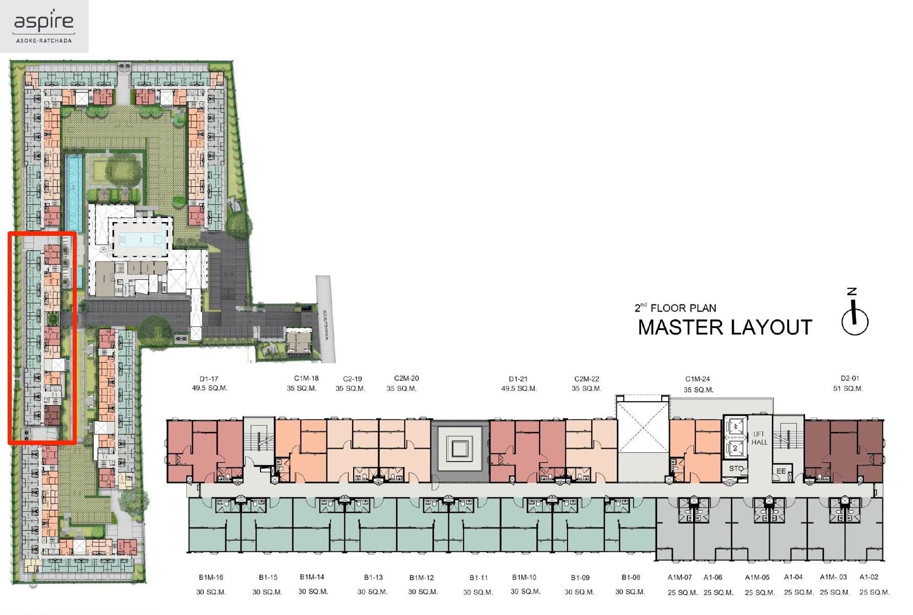 Aspire-Asoke-ratchada-Site-Plan-2nd floor