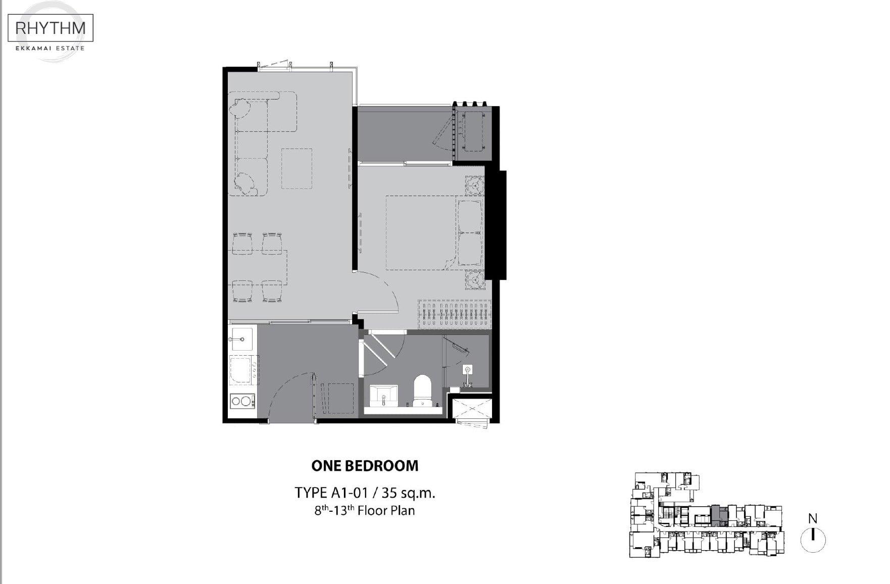 Rhythm-Ekkamai-Estate-Floor Plan 1BR-35sqm