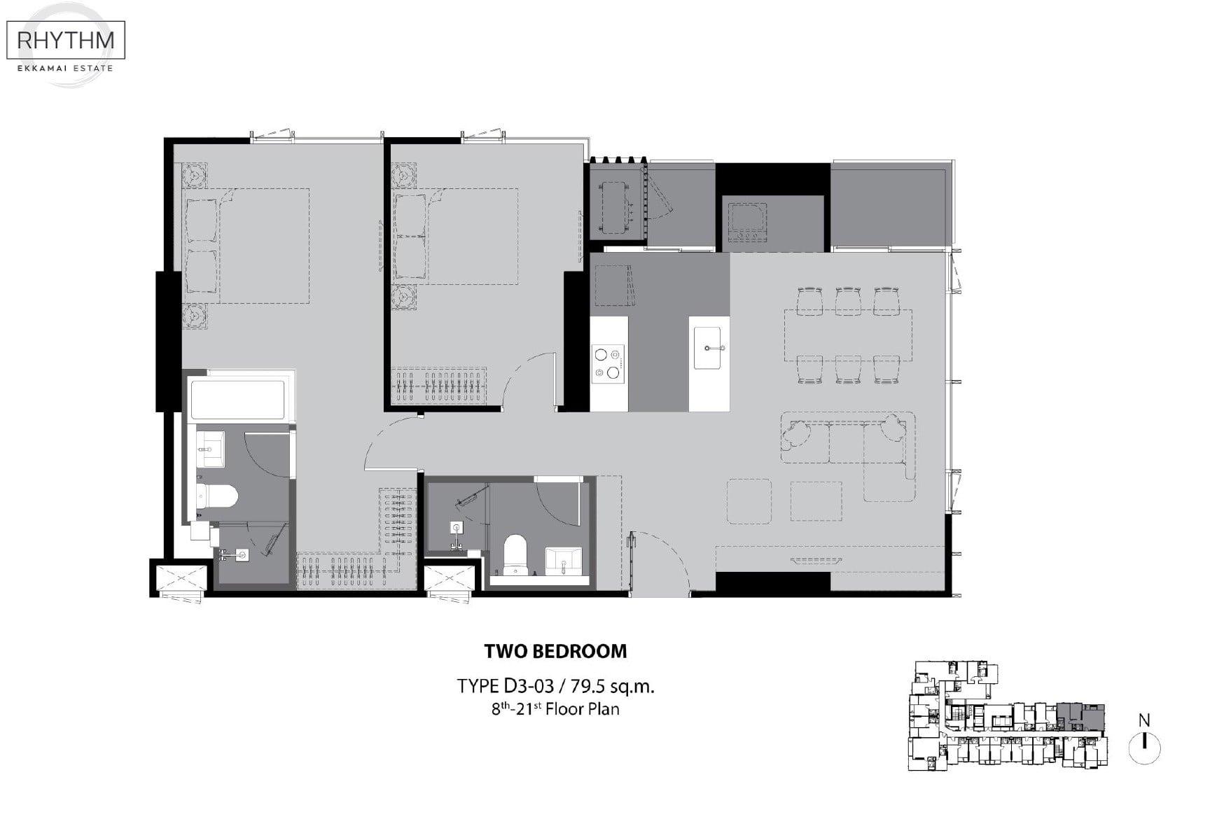 Rhythm-Ekkamai-Estate-Floor Plan 2BR-79.5sqm