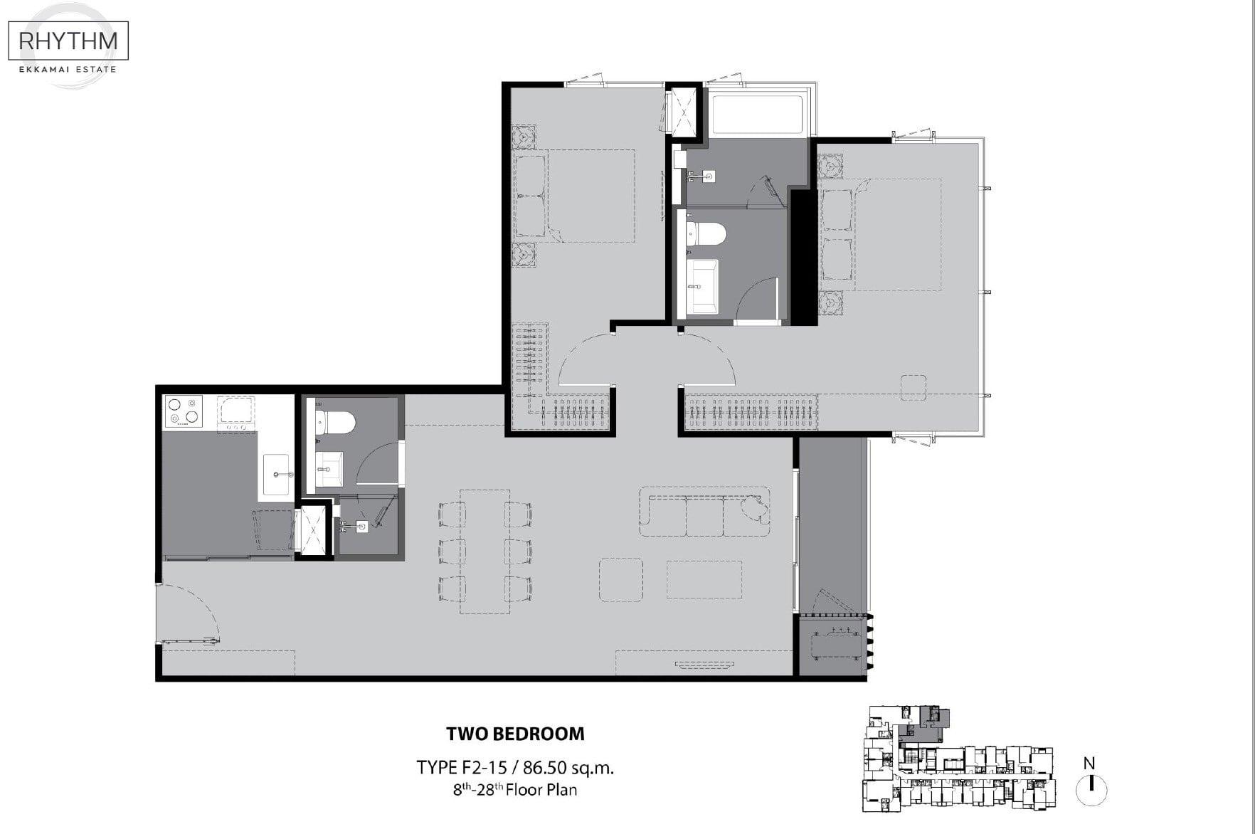 Rhythm-Ekkamai-Estate-Floor Plan 2BR-86.5sqm