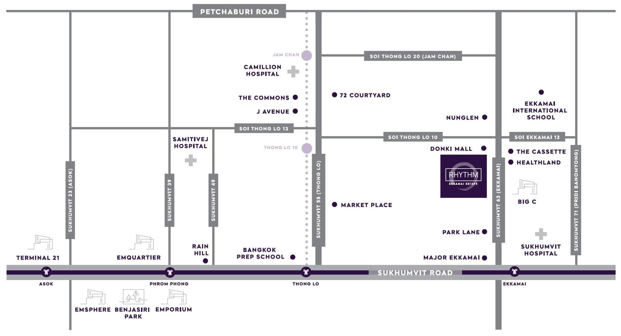 Rhythm-Ekkamai-Estate-Location-Map