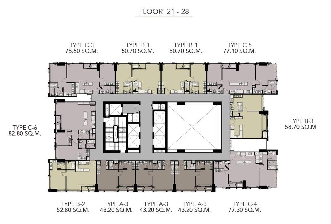 HYDE-Heritage-Thonglor-Floor Plan 21-28