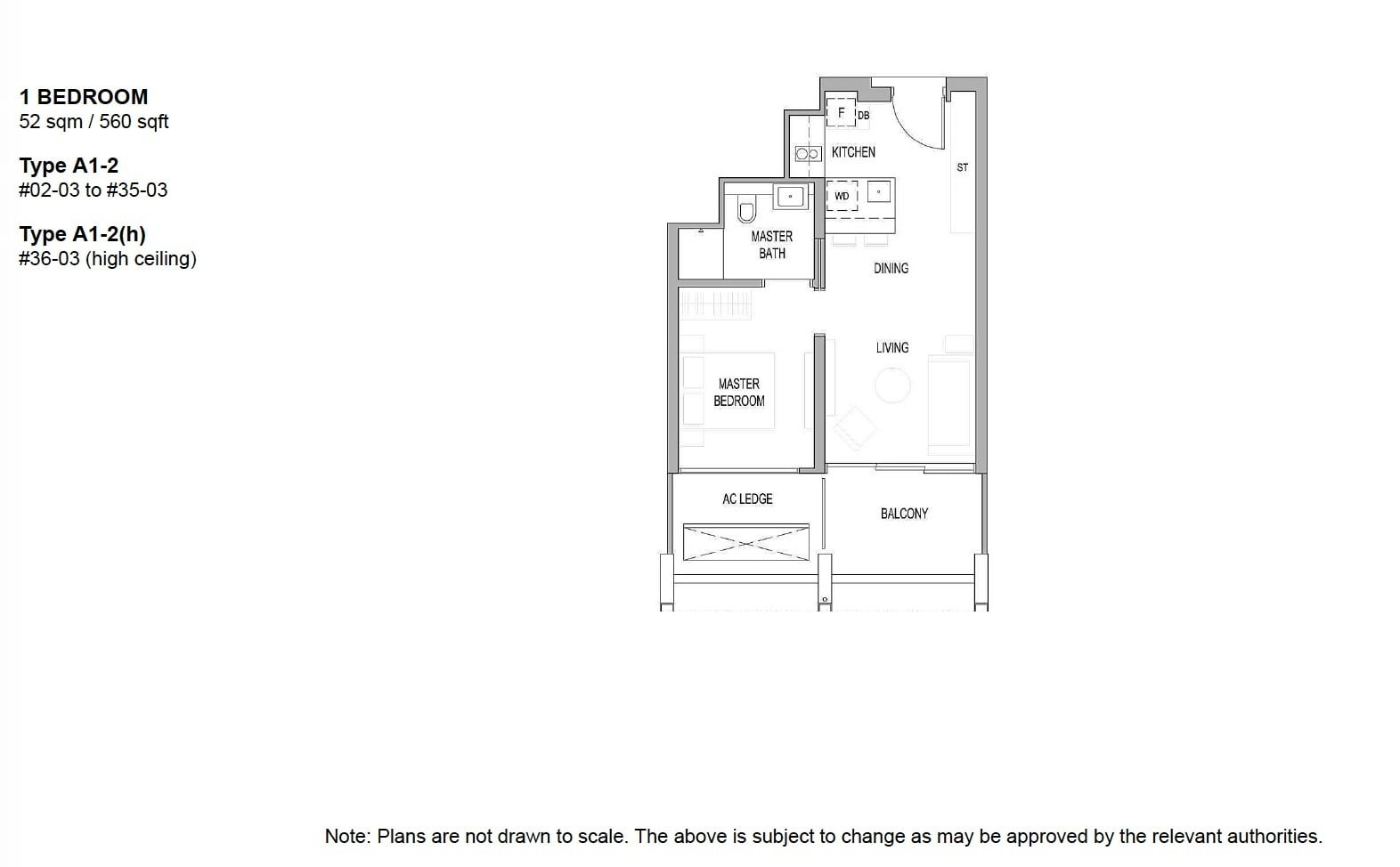 Riviere river valley floor plan 1BR 560 sqft