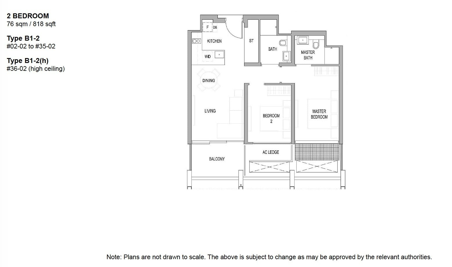 Riviere river valley floor plan 2BR 818 sqft
