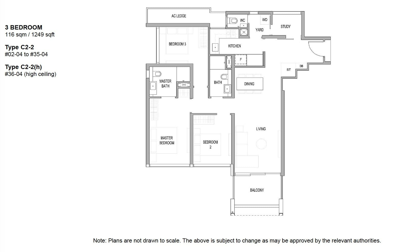 Riviere river valley floor plan 3BR 1249 sqft