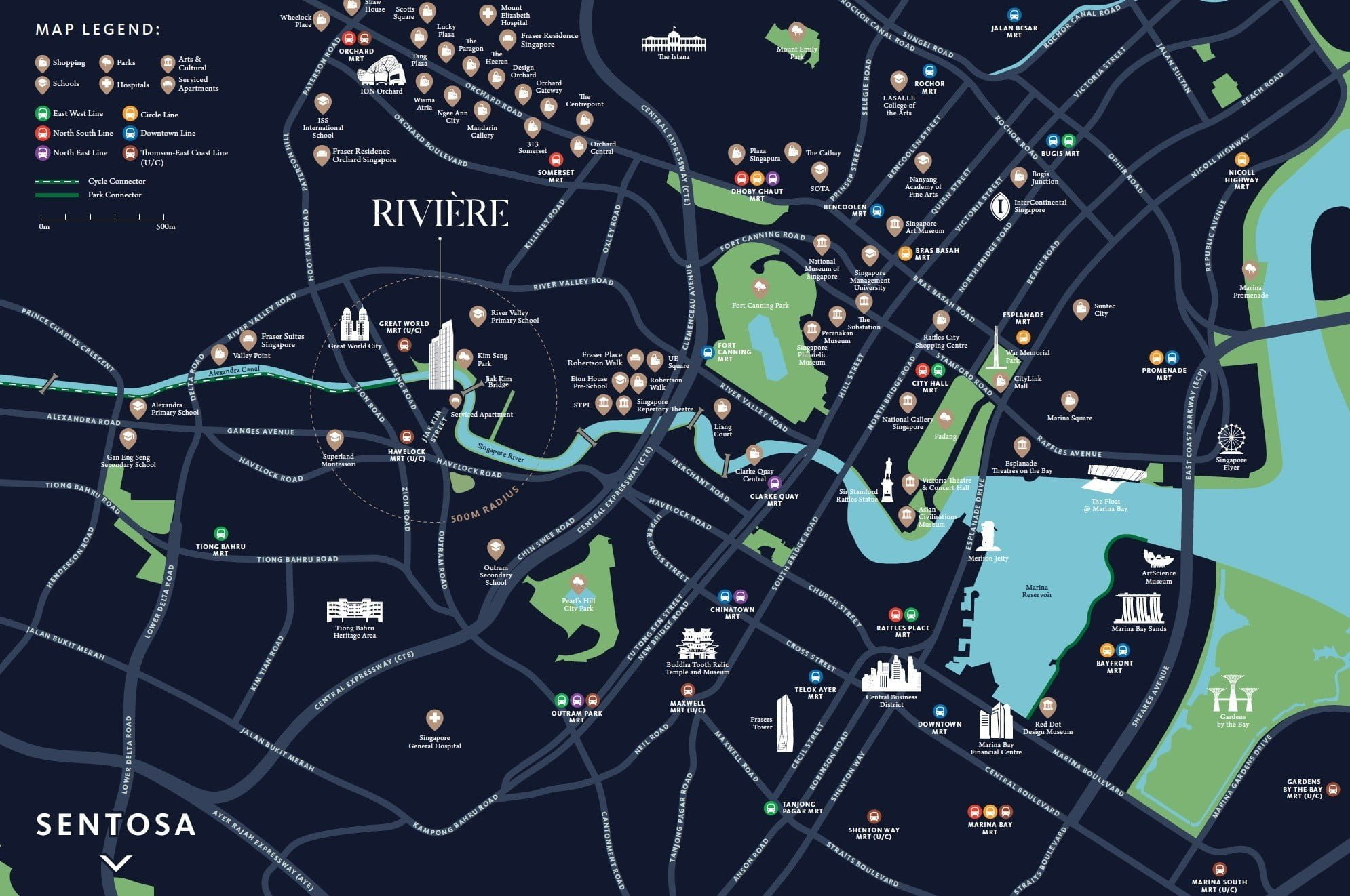 Riviere river valley location map