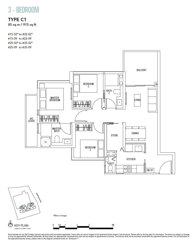 Sky-Everton-Floor Plan-3BR C1