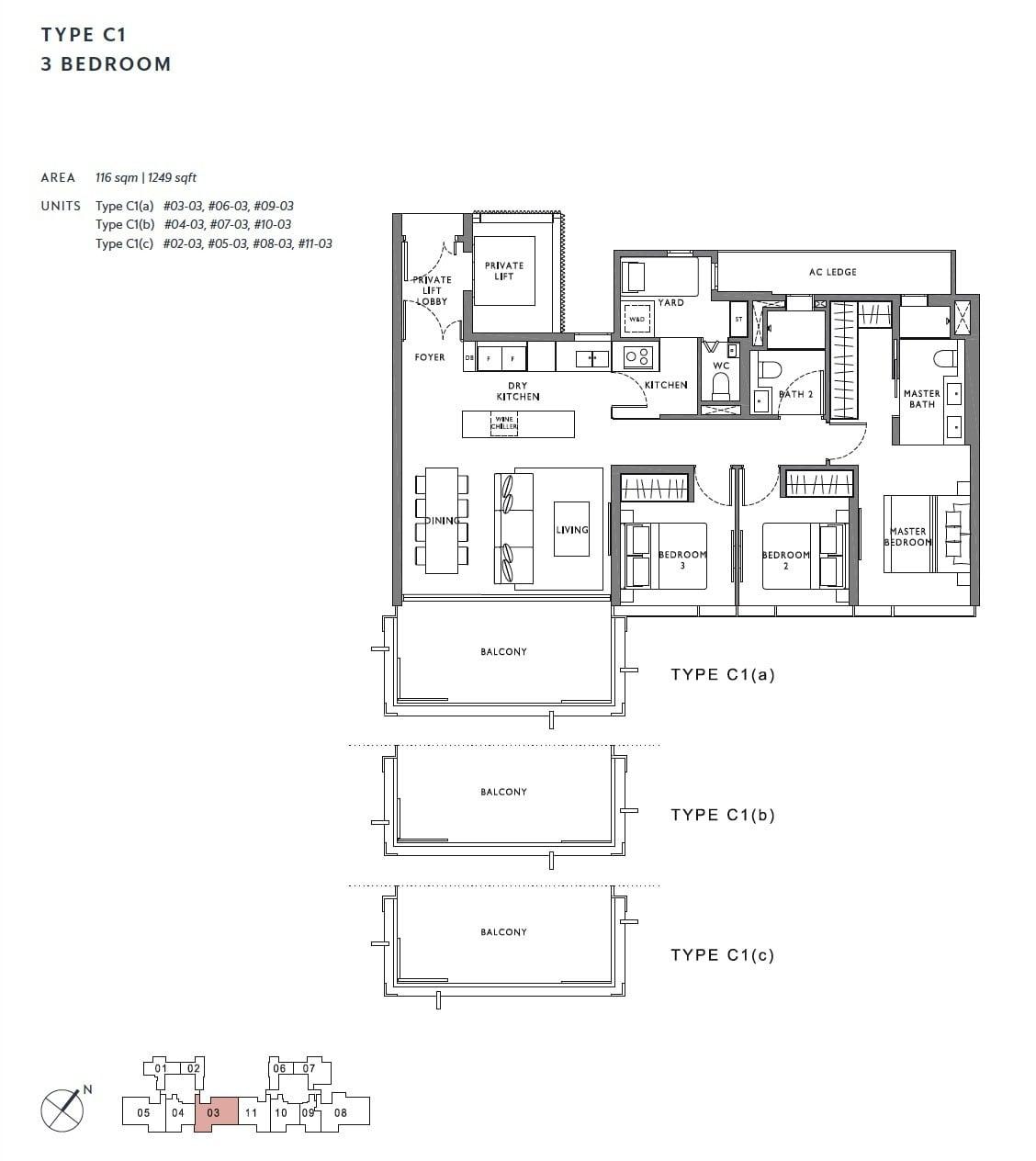 the-hyde-balmoral-floor plan-3BR C1