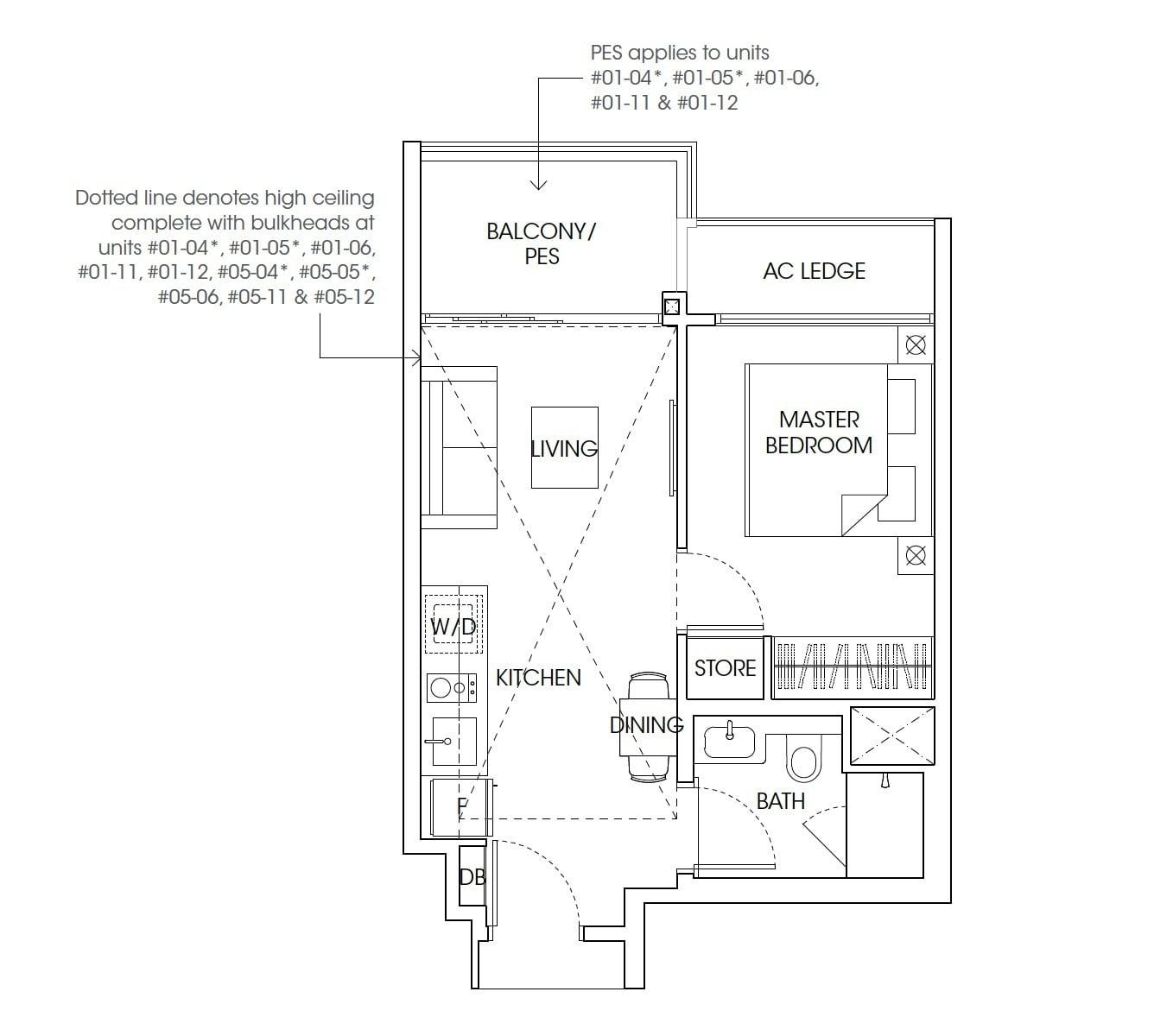 The-Antares-floor plan 1Bedroom
