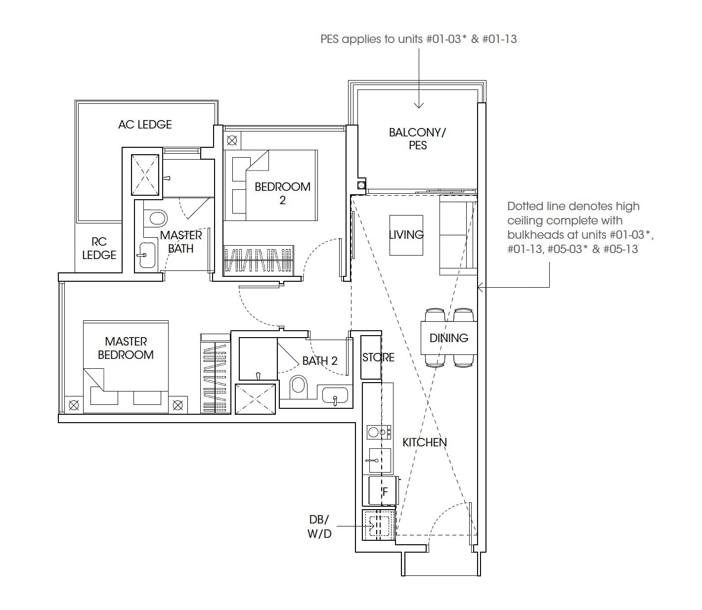 The-Antares-floor plan 2Bedroom