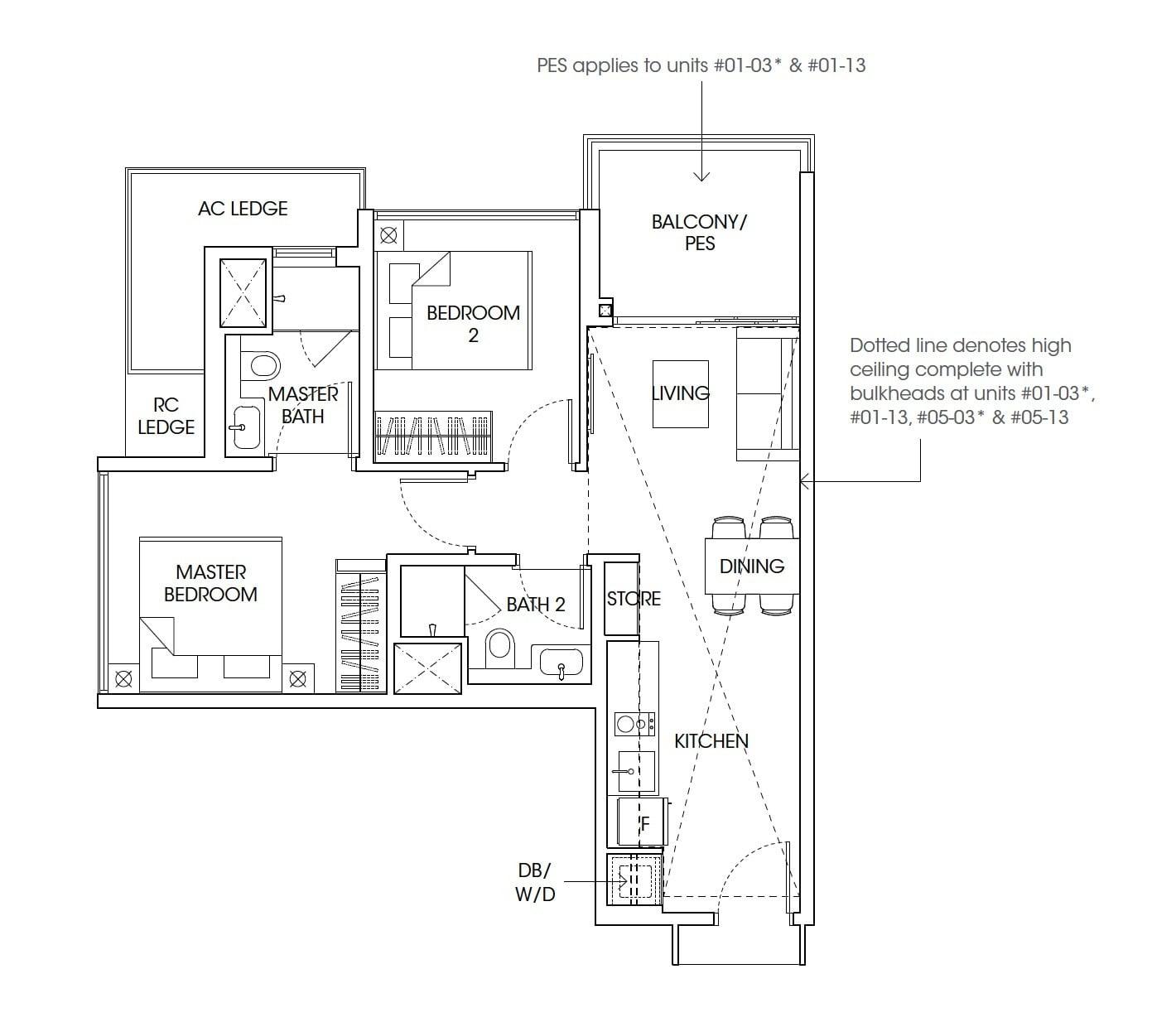 The-Antares-floor plan 2Bedroom