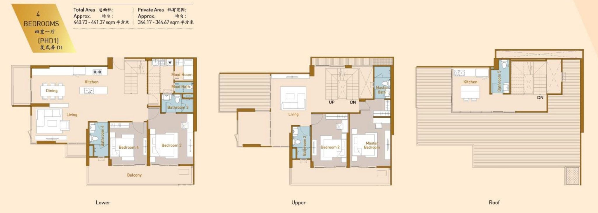 Royal Platinum Floor Plan 4BR Duplex full D1