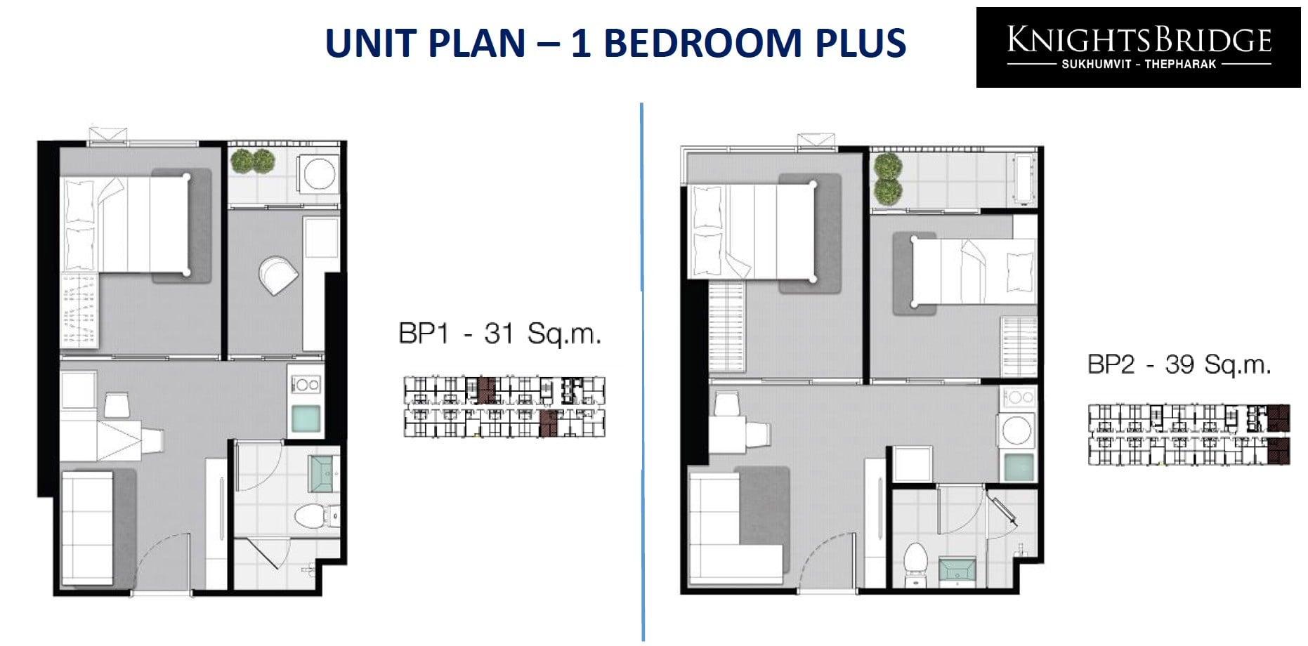 Knightsbridge-sukhumvit-thepharak-Floor plan 1BR plus