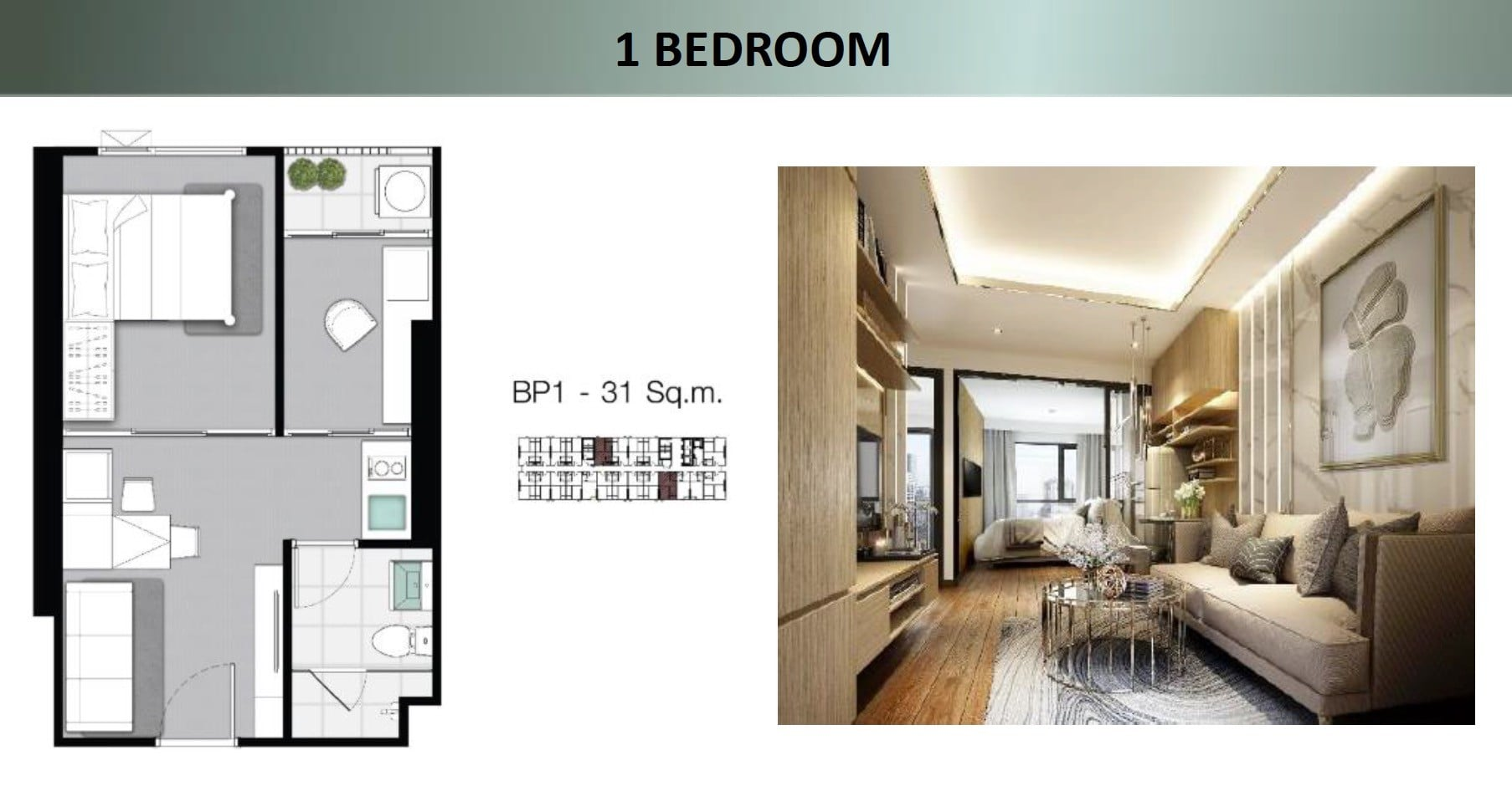 Knightsbridge-sukhumvit-thepharak-Floor plan 1BR showroom