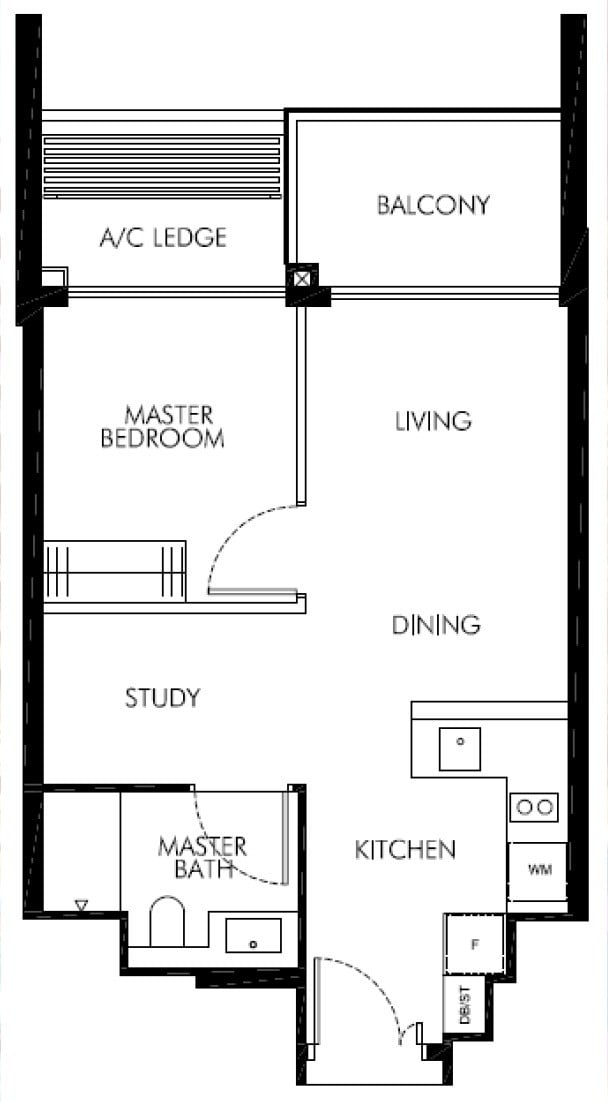 Leedon-Green-floor plan showunit 1BR