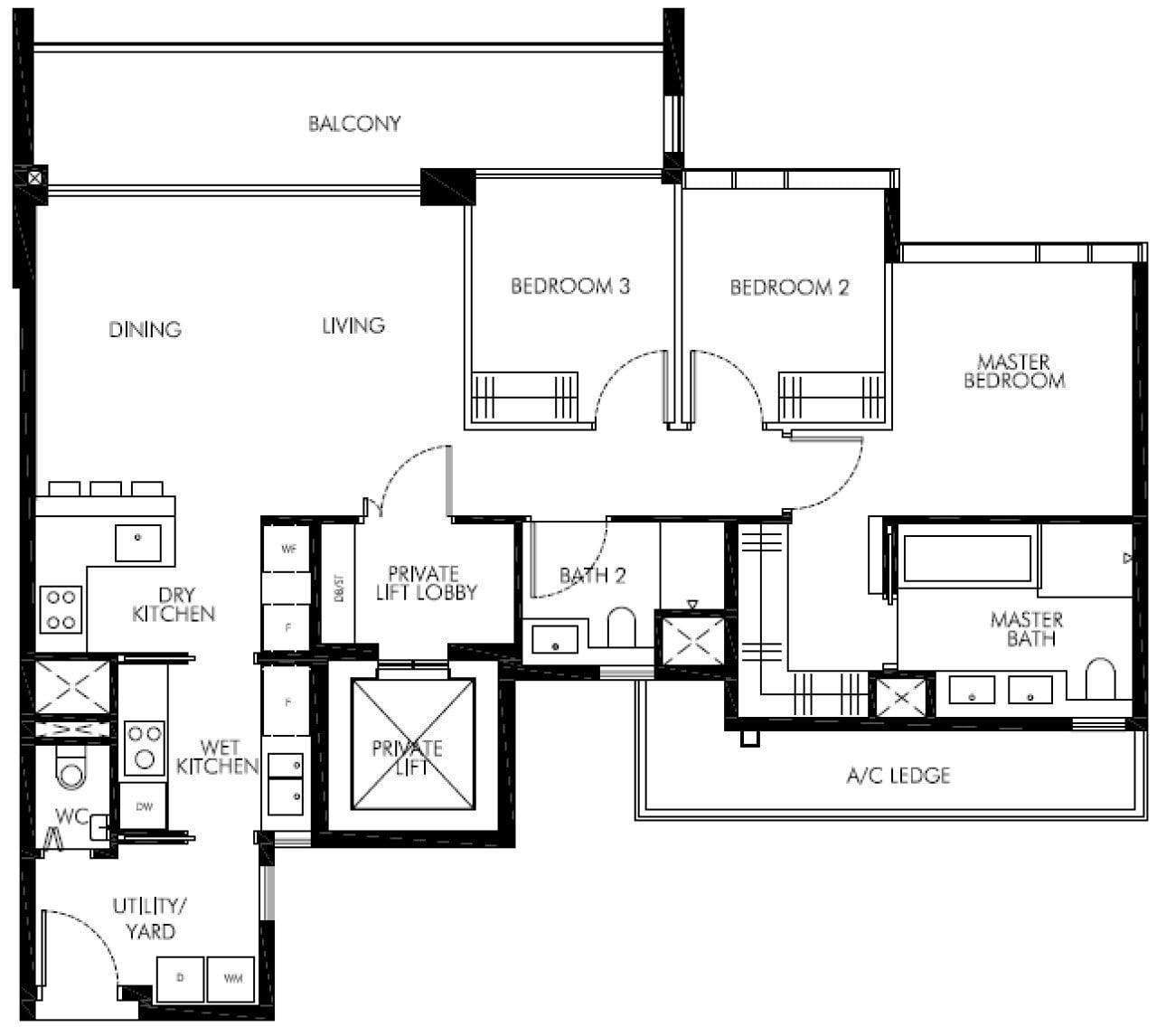 Leedon-Green-floor plan showunit 3BR