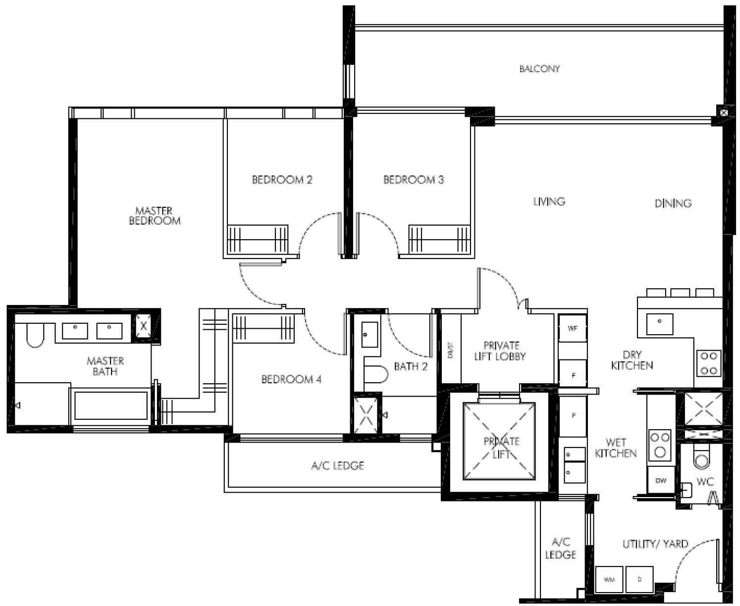 Leedon-Green-floor plan showunit 4BR