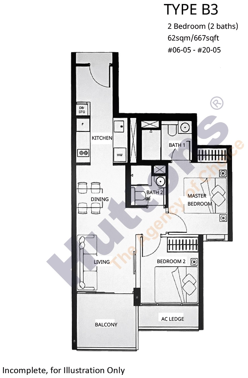 Linq Beauty World - Floor Plan 2BR-B3