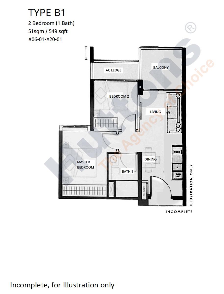 Linq Beauty World - Floor Plan 2BR